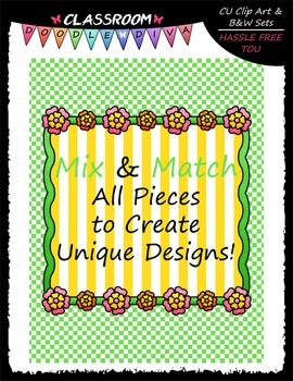 Cover Page Kit (May) - Flowers Clip Art - CU Clip Art, B&W & 8.5x11 Papers