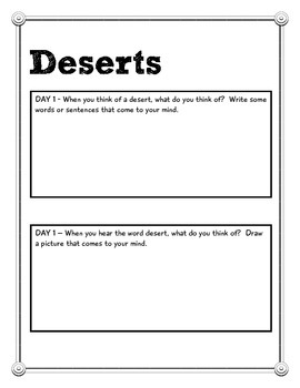 Cover Page for Desert Packet