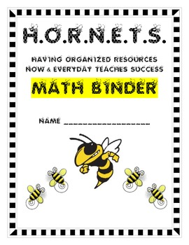 Cover Page for Math Binder Hornets/Bee Theme