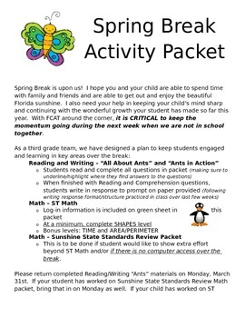 Cover Page for Spring Break Activity Packet - Communication with Home