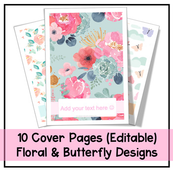 Cover Pages | 10 Floral & Butterfly Designs | Editable
