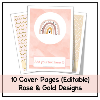 Cover Pages | 10 Rose & Gold Designs | Editable