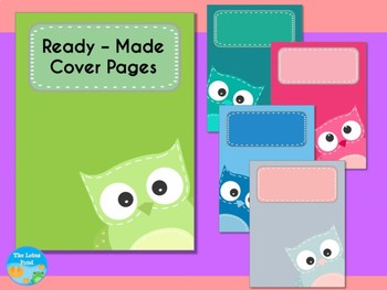 Cover Pages: Ready Made Cover Pages and Binder Covers - Patchwork Owls - Solid