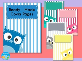 Cover Pages: Ready Made Cover Pages and Binder Covers - Patchwork Owls - Stripes