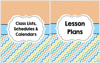 Cover Pages for Lesson Plan Binder - Summery colors