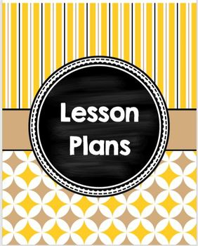Cover Pages for Lesson Plan Binder in tan and gold