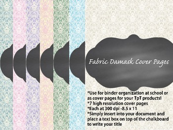 Cover Pages for TpT sellers or for your classroom {Fabric Damask Chalkboard}