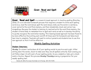 Cover-Read-Spell Homework Activity