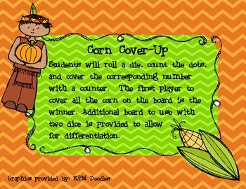 Thanksgiving Kindergarten Math Counting Game