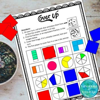 Cover Up Equivalent Fractions Game
