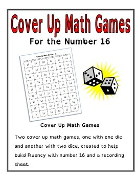 Cover Up Math Games for the Number 16