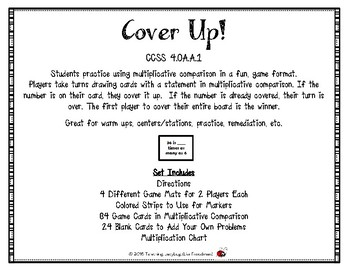 Cover Up! Multiplicative Comparison Cover Up Game 4.OA.A.1