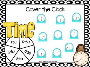 Cover the Clock:  NO PREP Time to the Half Hour Spin and Cover Game