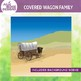 Covered Wagon Pioneer Family Clip Art Illustrations