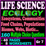 Life Science. Ecology. Ecosystems, Food Chains, Webs. 8 Worksheets. Grade 7