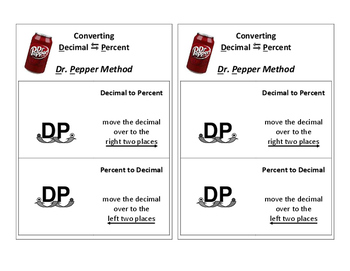Coverting Decimals & Percents Using the Dr. Pepper Method