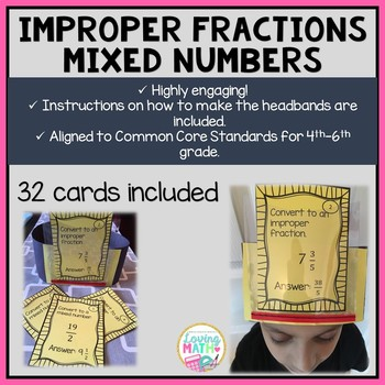 Coverting Mixed Numbers and Improper Fractions - Headbands Game