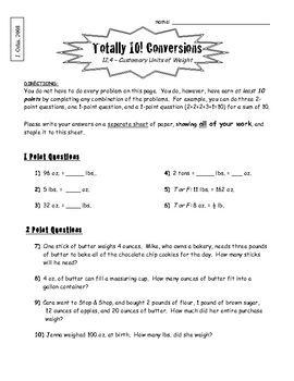Coverting Units of Measurement - Totally 10 (Differentiated Extension)