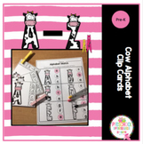 Cow Alphabet Clip Cards and Worksheets