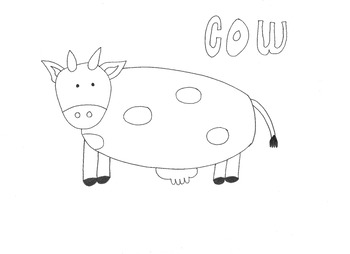 Cow: Animals and Pets: Colouring Page