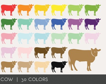 Cow Digital Clipart, Cow Graphics, Cow PNG, Rainbow Cow Digital Files