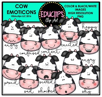 Cow Emoticons Clip Art Bundle {Educlips Clipart}