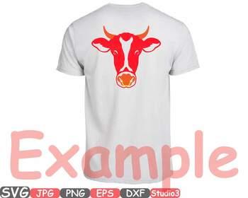 Cow Head Horns Silhouette SVG clipart cowboy bull buffalo Boho Farm Heifer 769S
