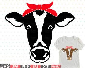 cow head silhouette svg clipart cowboy western farm animal