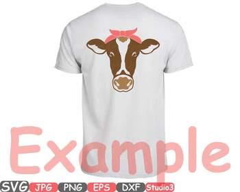 Cow Head Silhouette Svg Clipart Cowboy Western Farm Animal Heifer 768s