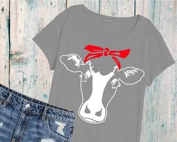 Cow Head whit Bandana Clipart Cutting Files cowboy western Farm Milk 896S