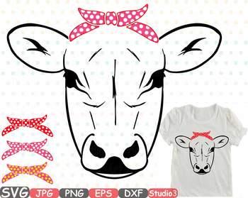 Cow Head whit Bandana Silhouette SVG clipart Polka dot cowboy Farm Milk 773S