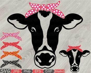 Cow Head Whit Bandana Silhouette Svg Clipart Polka Dot