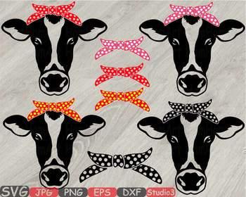 Cow Head whit Bandana Silhouette SVG clipart Polka dot cowboy Farm Milk 774S
