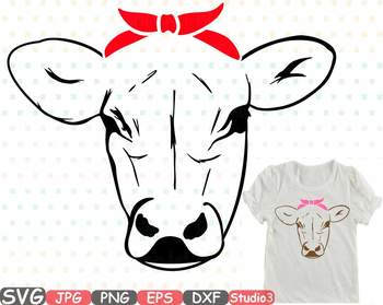 cow head whit bandana silhouette svg clipart cowboy