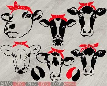 Cow Head whit Bandana Silhouette clipart bull cowboy cattle ox Farm Milk 779S