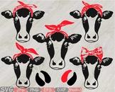 Cow Head whit Bandana Silhouette clipart bull cowboy cattle ox Farm Milk 811S