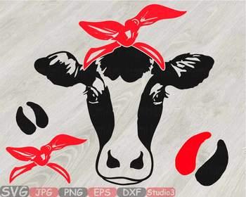 Cow Head whit Bandana Silhouette clipart bull cowboy cattle ox Farm Milk 812S