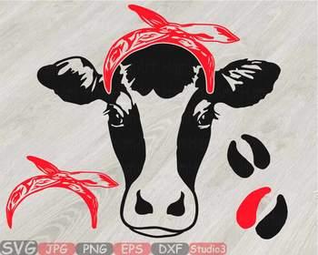Cow Head whit Bandana Silhouette clipart bull cowboy cattle ox Farm Milk 813S