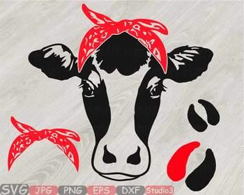 Cow Head whit Bandana Silhouette clipart bull cowboy cattle ox Farm Milk 814S