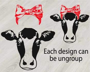 Cow Head whit Bandana Silhouette clipart bull cowboy cattle ox Farm Milk 815S