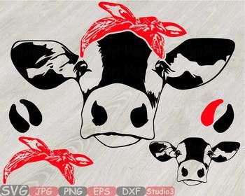 Cow Head whit Bandana Silhouette clipart bull cowboy cattle ox Farm Milk 828S