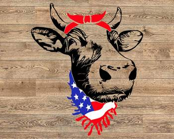 Cow Head whit Bandana and Scarf US flag SVG Not today Heifer Farm 1293S