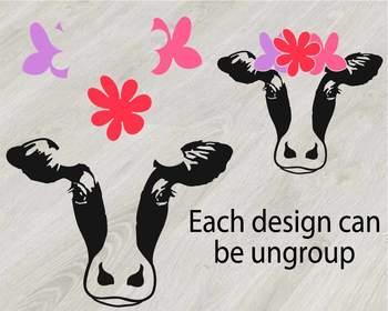 Cow Head whit Flowers Silhouette SVG clipart cut cowboy western Farm Milk 806S