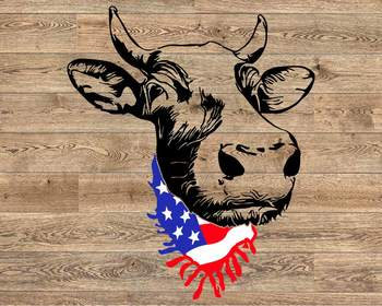 Cow Head whit Scarf US flag SVG Not today Heifer Farm 4th july Fourth 1293S
