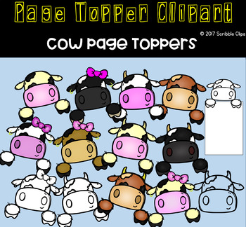 Cow Page Toppers Clipart