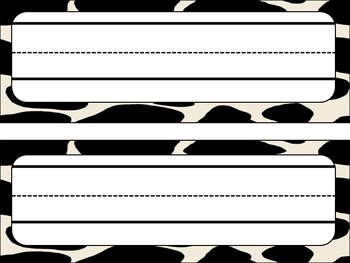 Cow Print Themed Name Plates