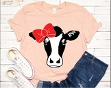 Cow SVG cow with bow Heifer bandana dairy cow Farm rodeo popular 963s