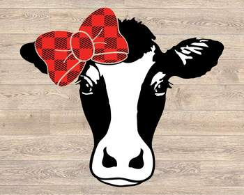 Cow Svg Cow With Bow Svg Bandana Heifer Svg Farm Rodeo