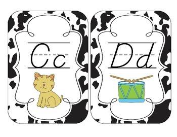 Cow Spots Alphabet Cards: D'Nealian Version