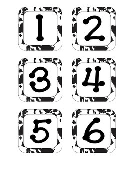 Cow Spots Calendar Numbers, Months and Days